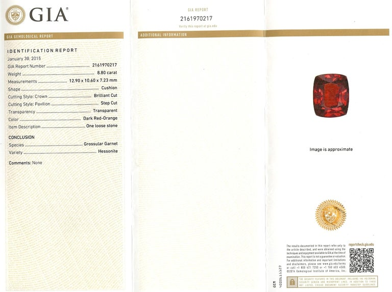 Midcentury 8.80 Carat GIA Garnet Solitaire Ring For Sale 5