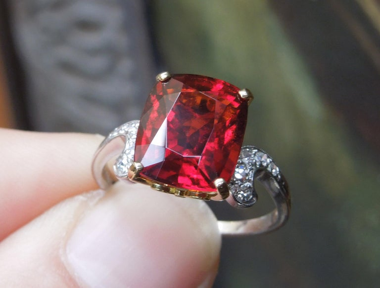 Cushion Cut Midcentury 8.80 Carat GIA Garnet Solitaire Ring For Sale
