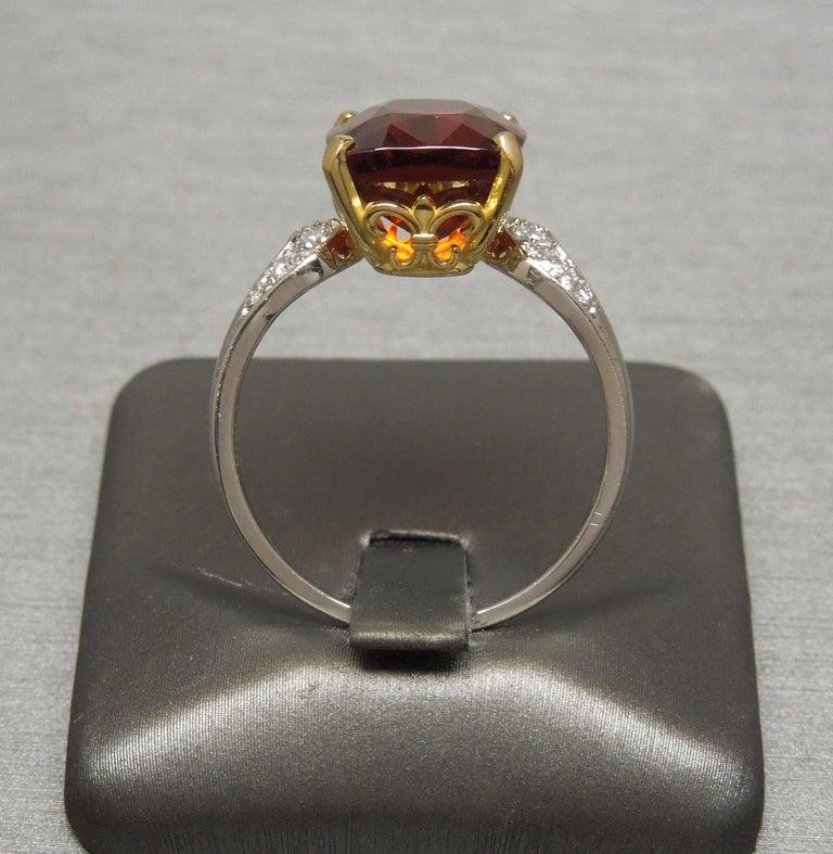 Women's Midcentury 8.80 Carat GIA Garnet Solitaire Ring For Sale