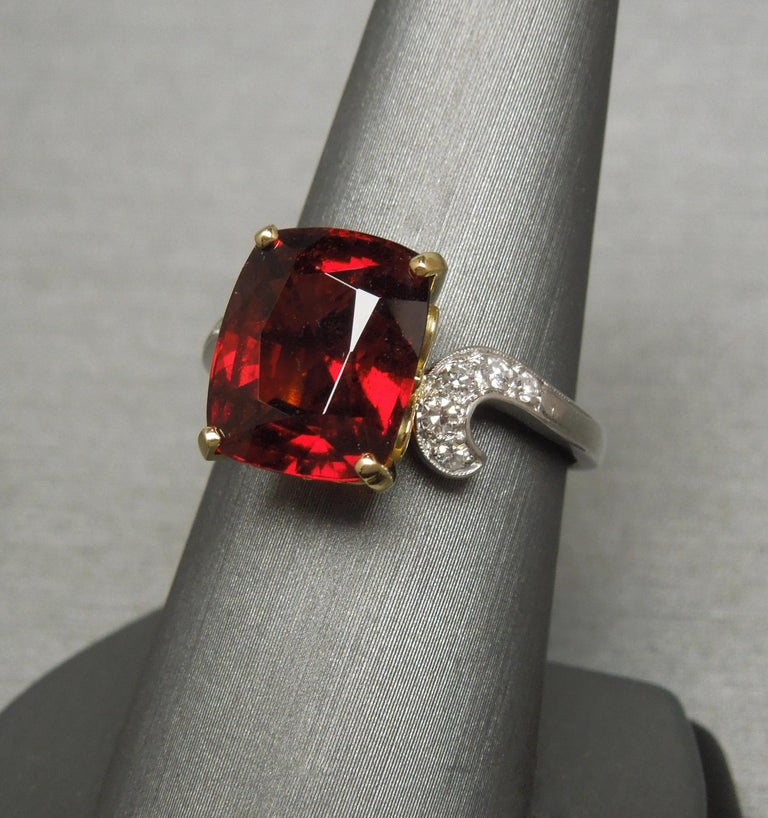 Midcentury 8.80 Carat GIA Garnet Solitaire Ring For Sale 1