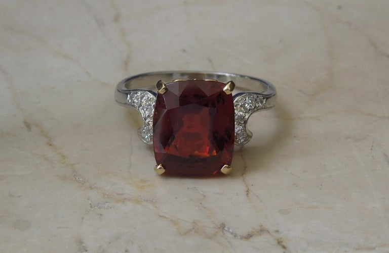 Midcentury 8.80 Carat GIA Garnet Solitaire Ring For Sale 3