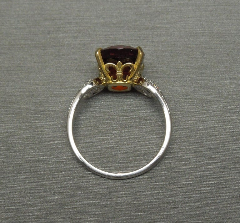 Midcentury 8.80 Carat GIA Garnet Solitaire Ring For Sale 4