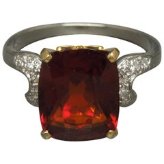 Midcentury 8.80 Carat GIA Garnet Solitaire Ring