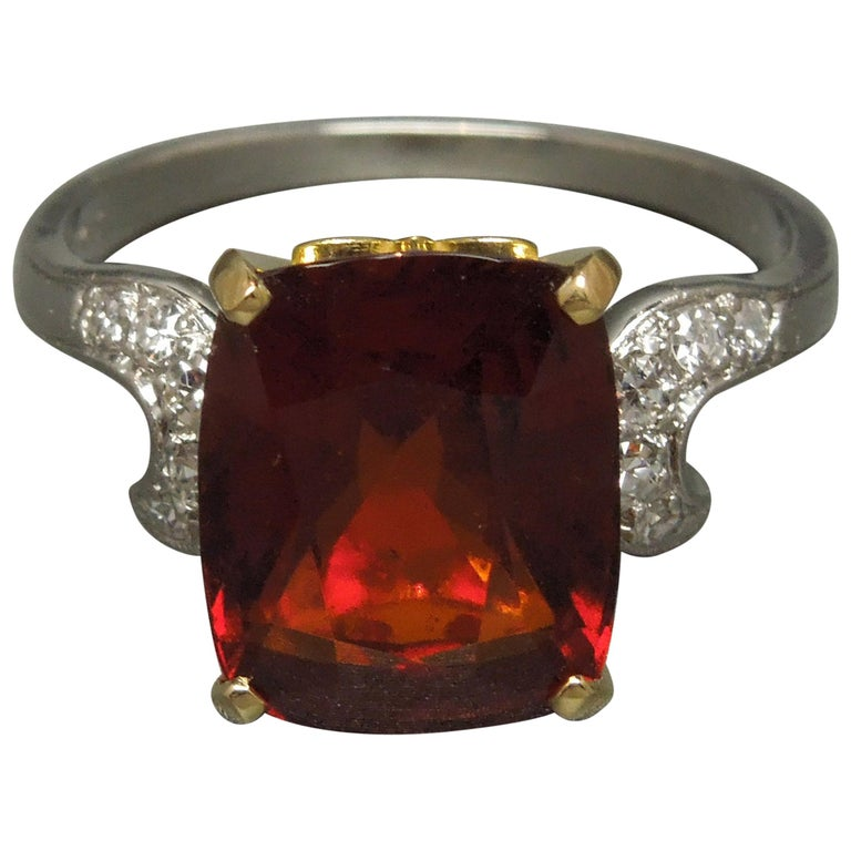 Midcentury 8.80 Carat GIA Garnet Solitaire Ring For Sale
