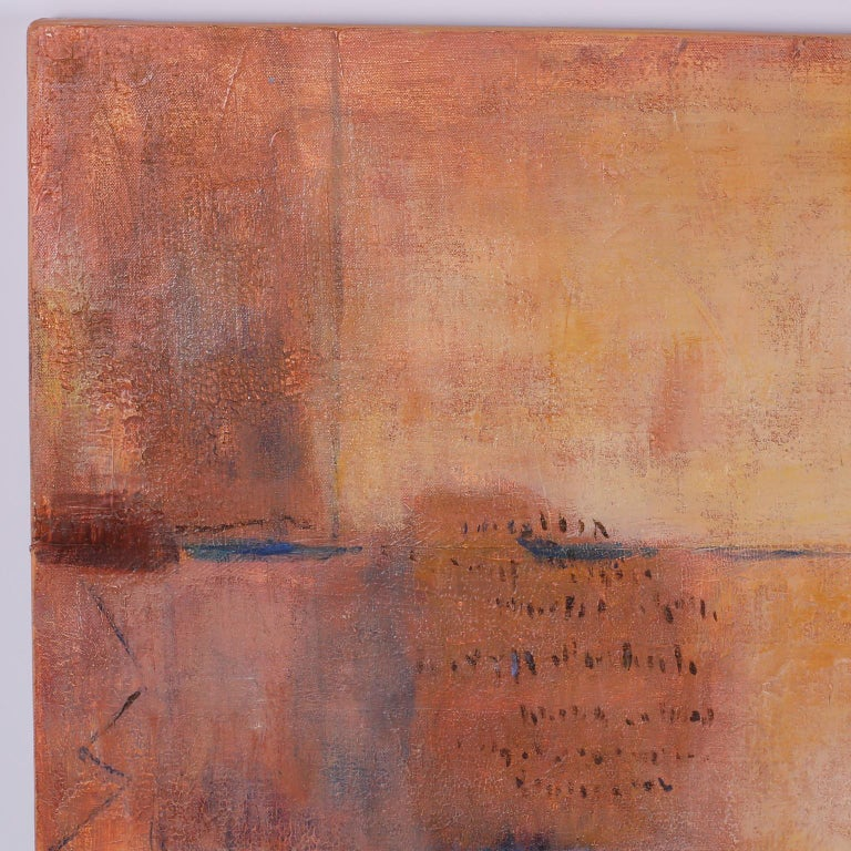 Evocative midcentury abstract acrylic painting on canvas with a dreamy warm palette and mysterious vague inscriptions.