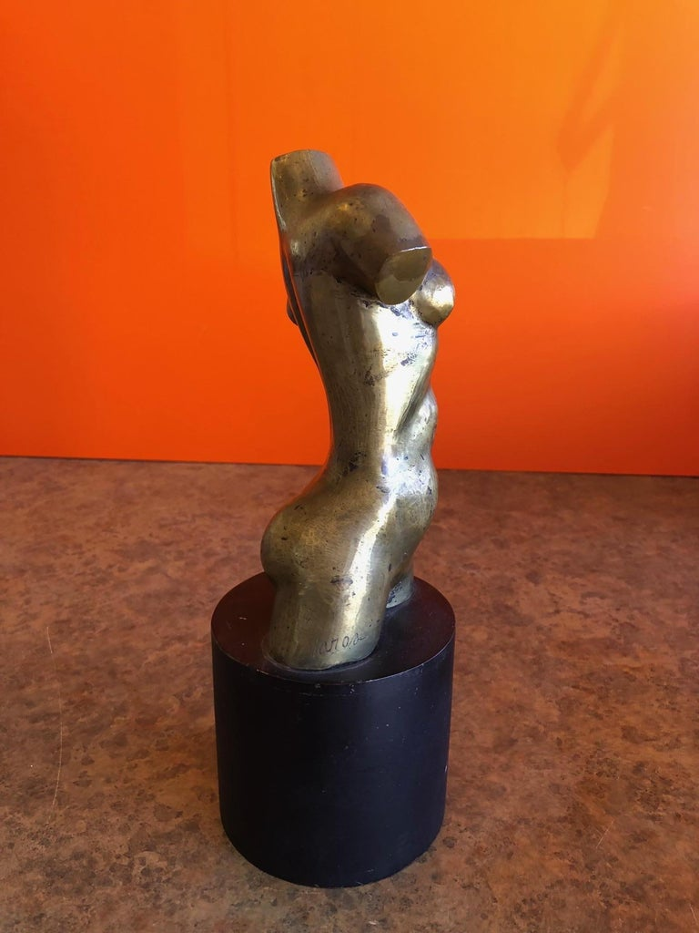 Midcentury Abstract Bronze Nude Sculpture on Metal Base by Ken Vares In Good Condition For Sale In San Diego, CA