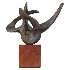 Midcentury Abstract Bronze Sculpture on Wood Base