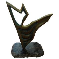 Midcentury Abstract Bronze Sculpture Signed Yone Di Alerigi