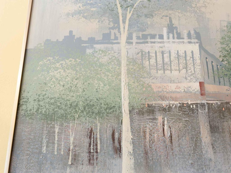 A large midcentury signed oil painting by Lee Reynolds (Vanguard Studios) of a Chicago street scene on an overcast day. The painting has the perspective from one end of the street with pedestrians walking under the canopy of the red brick buildings,