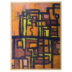 Midcentury Abstract Expressionist Cubism Art in Orange Black, Valdes 1961, Spain