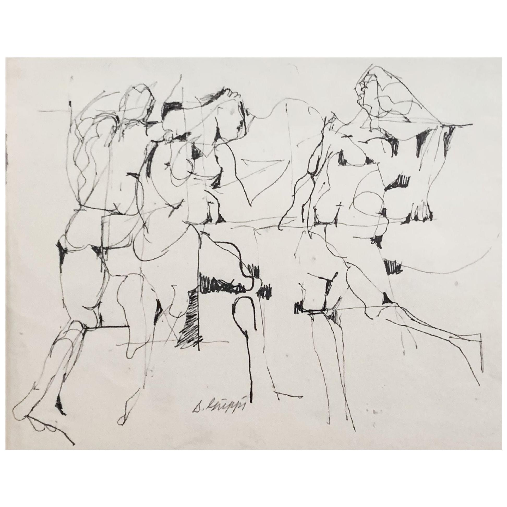 Midcentury Abstract Expressionist Ink Drawing on Paper by Salvatore Grippi, 1953