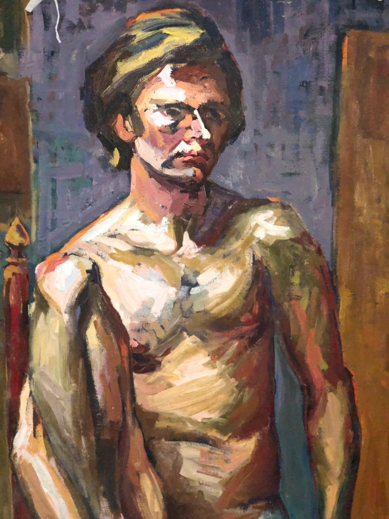 Oil nude portrait by Lois Foley Whitcomb. Dimensions: 40