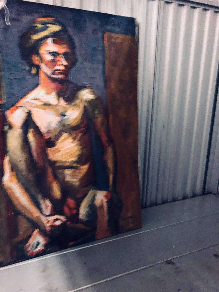 Mid-Century Modern Midcentury Abstract Expressionist Male Nude Portrait by Lois Foley Whitcomb For Sale