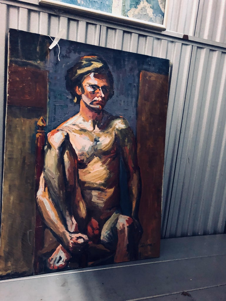 American Midcentury Abstract Expressionist Male Nude Portrait by Lois Foley Whitcomb For Sale