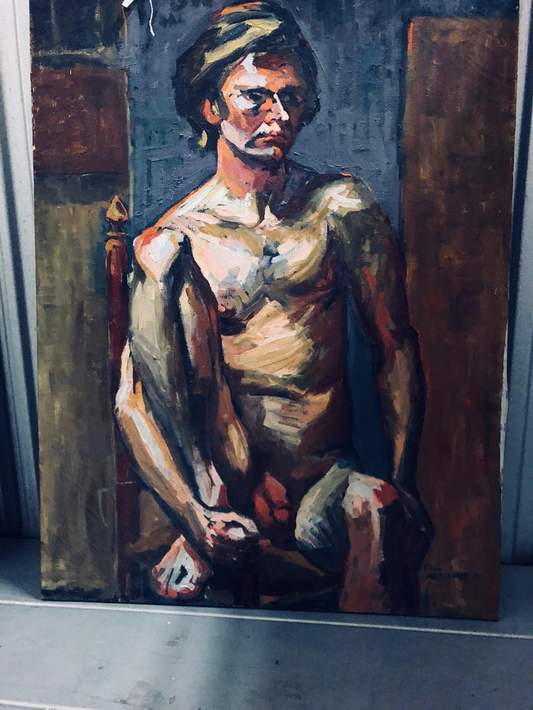 Midcentury Abstract Expressionist Male Nude Portrait by Lois Foley Whitcomb In Good Condition For Sale In Brooklyn, NY