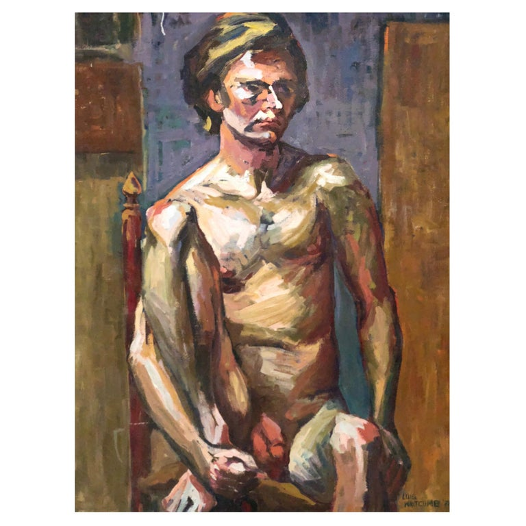 Midcentury Abstract Expressionist Male Nude Portrait by Lois Foley Whitcomb For Sale