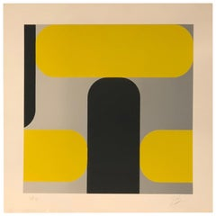 Midcentury Abstract Kaspar Lenk Signed Numbered Screen-Print Untitled III, 1977