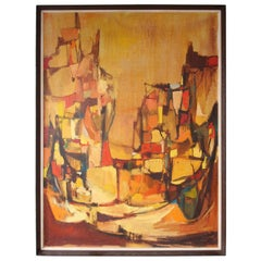 Midcentury Abstract Landscape Painting by San Francisco Artist Warren Brandon