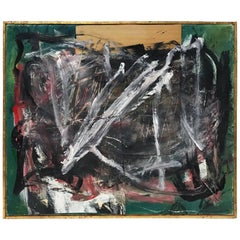 Midcentury Abstract Mixed-Media Painting