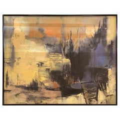 Midcentury Abstract Oil on Canvas by Mary Cranfill Curtis
