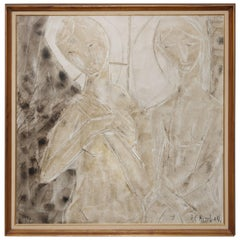 Midcentury Abstract Oil Painting of Two Figures by H. C. Kimball
