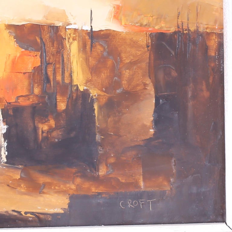 American Midcentury Abstract Oil Painting on Board For Sale