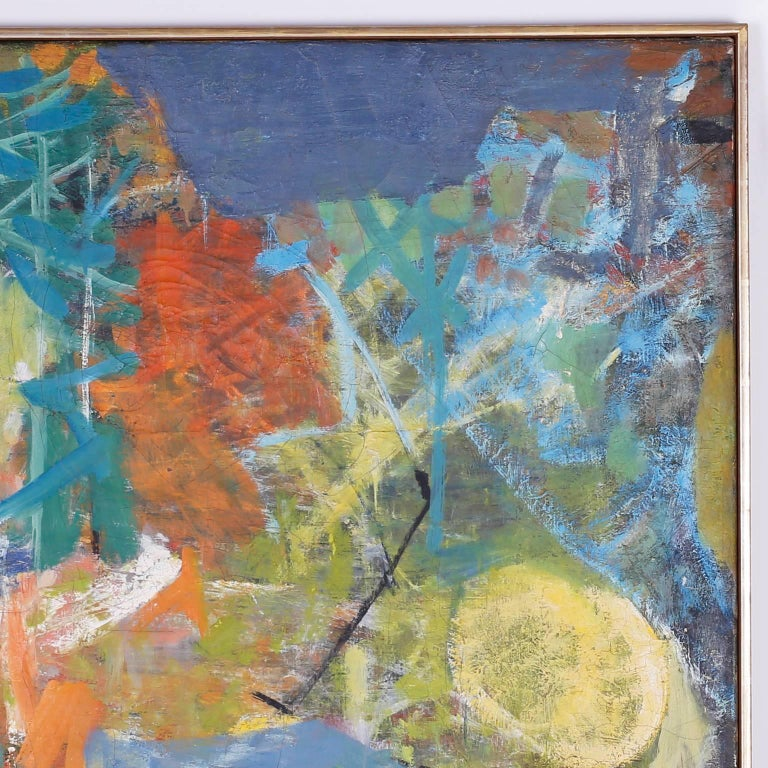 Mid-Century Modern Midcentury Abstract Oil Painting on Canvas For Sale