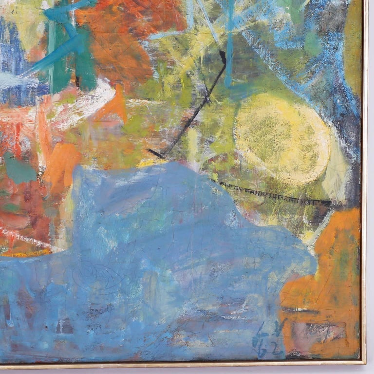American Midcentury Abstract Oil Painting on Canvas For Sale