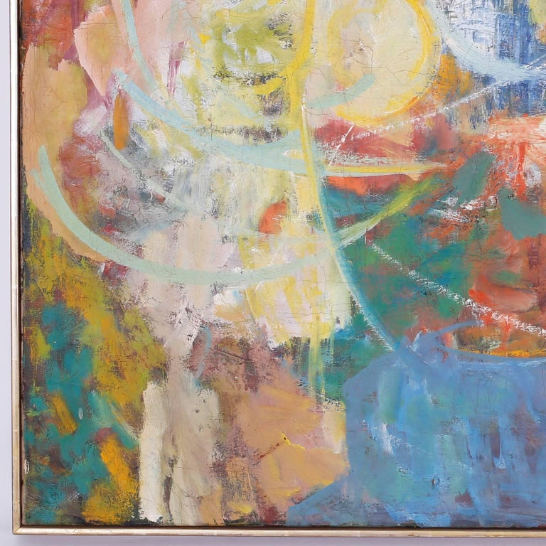 Midcentury Abstract Oil Painting on Canvas In Excellent Condition For Sale In Palm Beach, FL