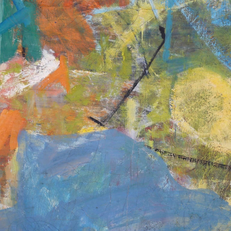 Midcentury Abstract Oil Painting on Canvas For Sale 1