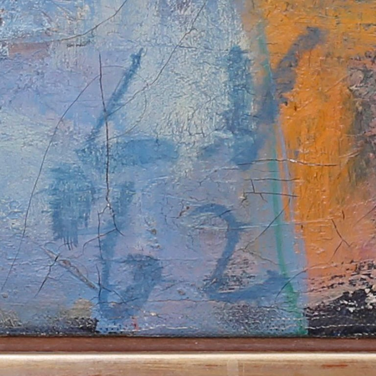 Midcentury Abstract Oil Painting on Canvas For Sale 2