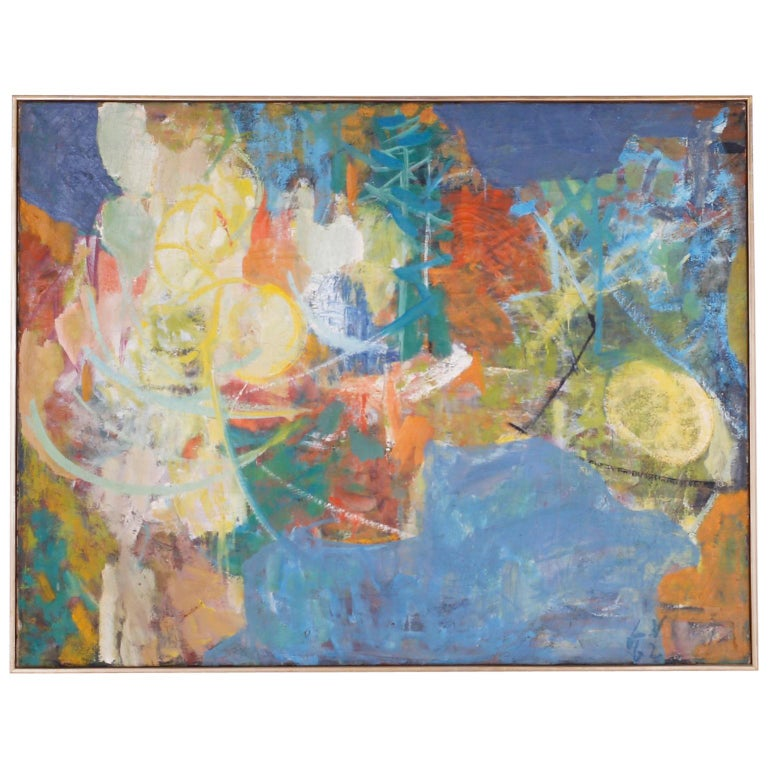 Midcentury Abstract Oil Painting on Canvas For Sale