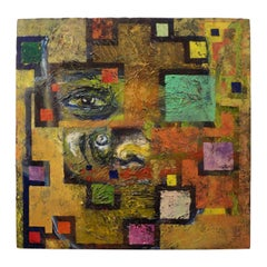 Midcentury Abstract Oil Painting on Canvas