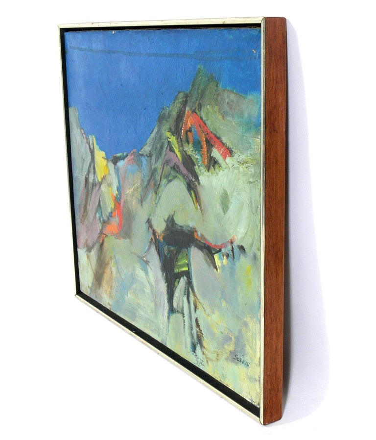 Midcentury abstract painting, American, circa 1960s. This painting is signed