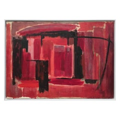 Midcentury Abstract Painting in Black and Reds by Phillip Callahan