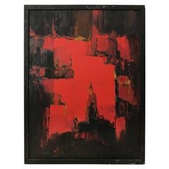 Midcentury Abstract Painting in Black, Red and Ochre
