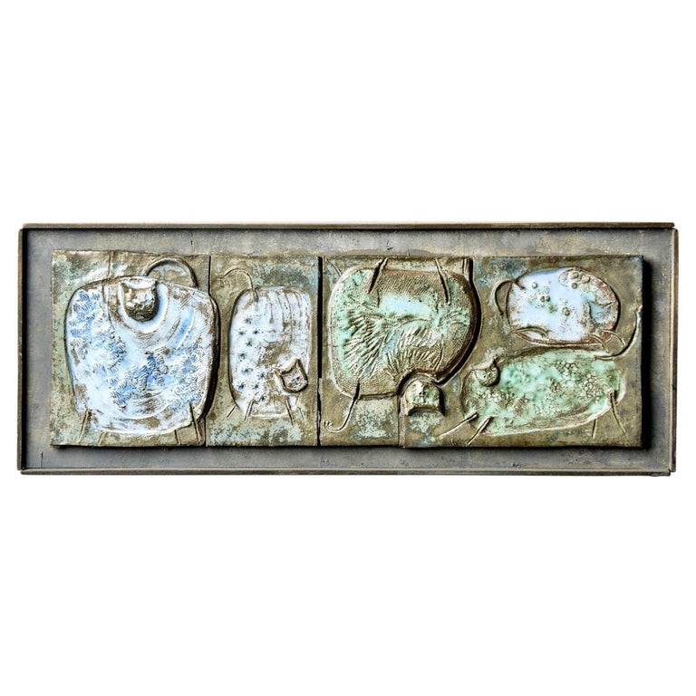 Midcentury Abstract Pottery Plaque with Cats For Sale