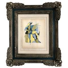 Midcentury Abstract Russian School Avant-Garde Painting in Gouache