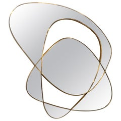 Midcentury Abstract Smoked Mirror and Brass Wall Art