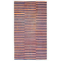 Midcentury Abstract Turkish Handmade Striped Flat-Weave in Persimmon Coral, Blue