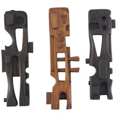 Midcentury Abstract Wood Carvings
