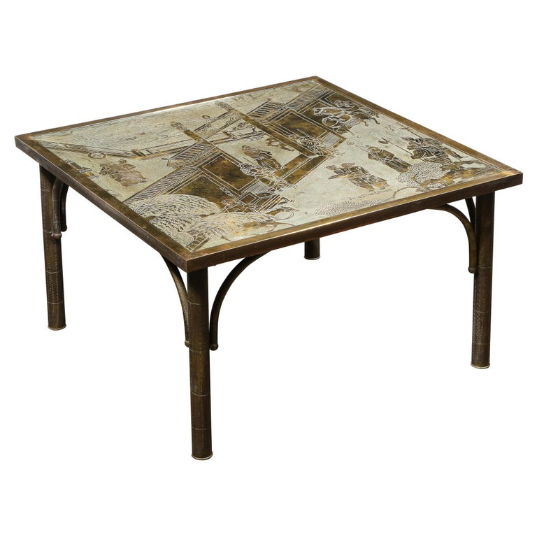 """Midcentury Acid Etched Cocktail """"Chan Series"""" Table by Philip and Kelvin LaVerne For Sale"""