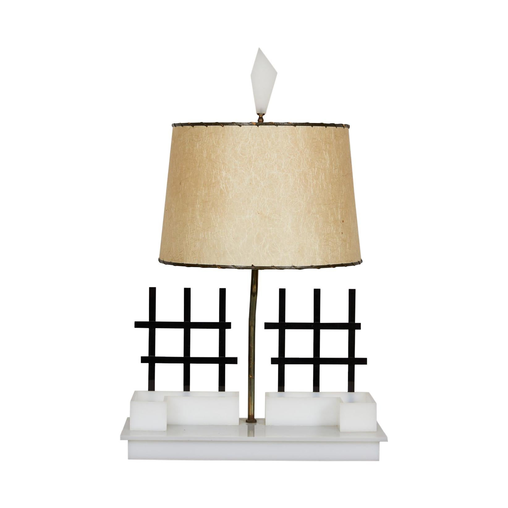 Midcentury Acrylic and Brass Light by Moss Lamps