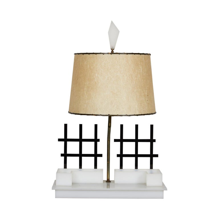 Midcentury Acrylic and Brass Light by Moss Lamps For Sale