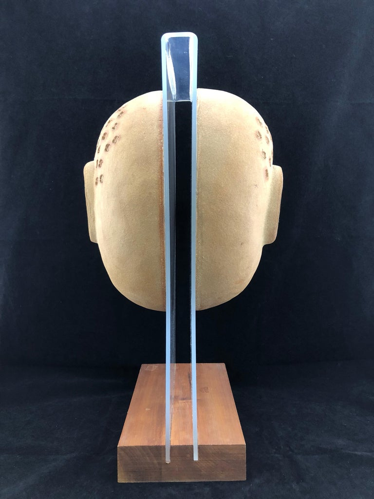 Midcentury Acrylic and Ceramic Head Sculpture by David Gil for Bennington In Good Condition For Sale In Marietta, GA