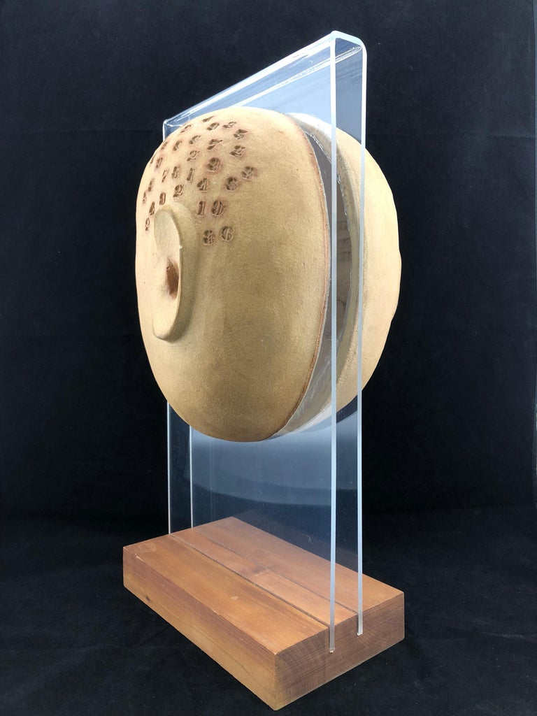 Mid-20th Century Midcentury Acrylic and Ceramic Head Sculpture by David Gil for Bennington For Sale
