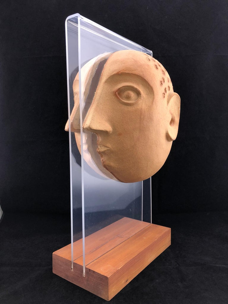 Midcentury Acrylic and Ceramic Head Sculpture by David Gil for Bennington For Sale 2