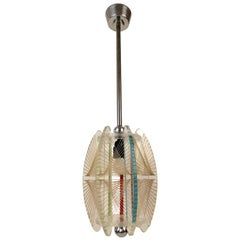 Midcentury Acrylic and Mono Filament Pendant with Color Accents, Czech Republic
