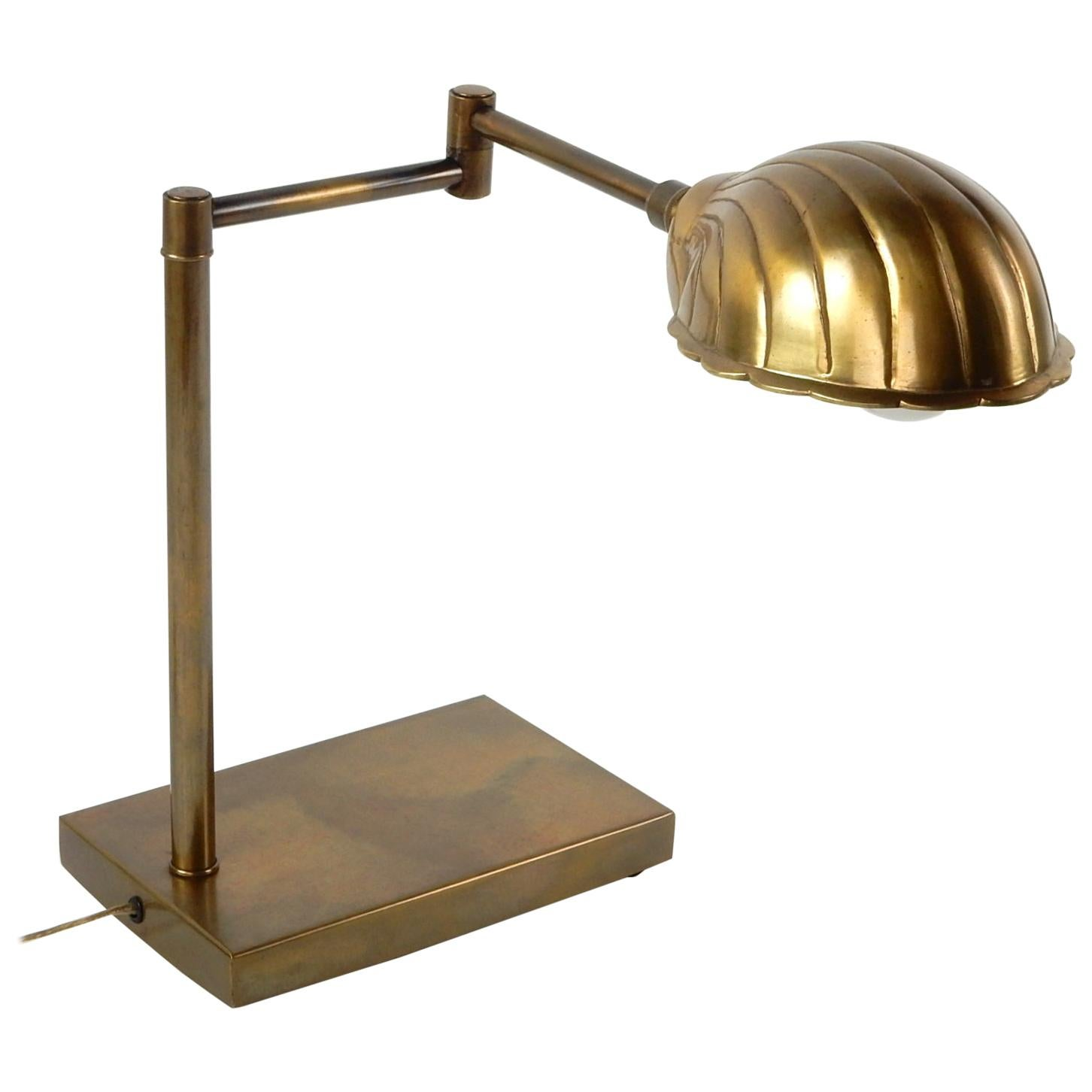 Midcentury Adjustable Brass Clam Reading Lamp by Chapman