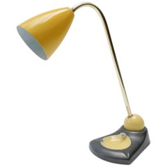 Midcentury Adjustable Brass Table Lamp and Vide Poche with a Yellow Metal Shade